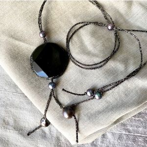 Chan Luu Onyx & South Sea Pearls Long Necklace